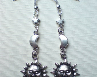 Silver Moon Star Sun Earrings Moon Earrings Star Earrings Sun Earrings Celestial Earrings Sun Moon And Star Dangling Earrings Gift