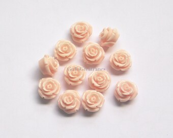 18 Cabs 15mm Baby Pink Roses, Resin Cabochons, Flower Cabs for Jewelry Making, Plastic Rose Flower, 15 mm, pale pink, light pink Tall Rose