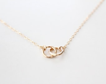 14k Gold Filled Double Ring Necklace - Eternal - Gold