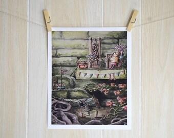 Snapdragon Joust, Original Watercolor Print, Snapdragon Fairy illustration, Fine Art Print 8x10 and 11x14, Fantastical battle illustration