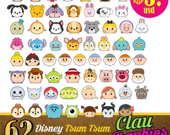 Tsum Tsum characters, SVG patterns, PNG images and EPS files, Receive a complete collection of Disney patterns for papercraft projects
