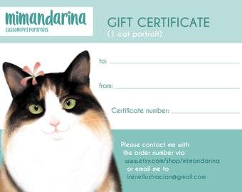 Gift certificate. Custom cat portrait. Cat drawing. Certificate card. Last minute gift. Personalized pet. Pet portrait