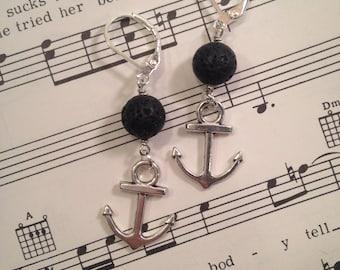 Aromatherapy Earrings ~ Lava Bead Earrings ~ Essential Oil Diffuser Earrings ~ Anchor Earrings