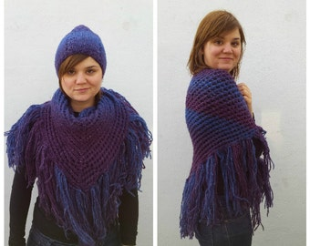 Blue and purple wool triangular knit scarf and hat set, hat and scarf set, triangle scarf, knit wool scarf, knit wool hat, galaxy colors