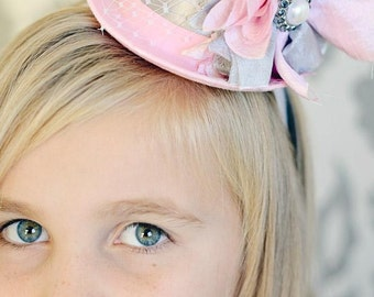 Smash Cake Headbands, Baby Girls Headbands, Pink Mini Top Hat Headband, Hat Tea Party Bridal Shower, 6 month photo props baby headband bows