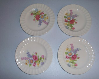 Edwin Knowles Spring Bouquet 1941 Set Of Four Bread & Butter Plates
