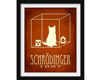 Schrodinger's Cat Science Gift, Science Poster, Quantum Physics Gift, Cat Art, Steampunk Print, Rock Star Scientist, Geek Decor Teacher Gift
