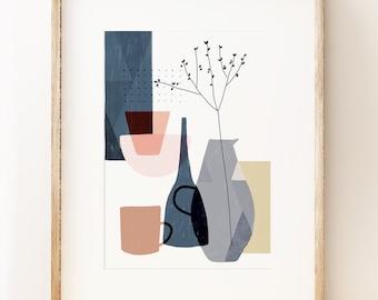 Contemporary still life art print 'Stillness 1'. Graphic art print, modern gallery wall art, Japanese inspired, pastel palette, wabi sabi