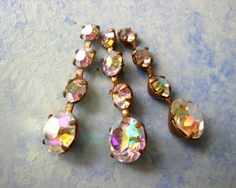 2 Vintage Swarovski jewelry findings 4 rhinestone crystals in brass setting