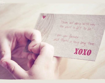 Valentine's Day, Letterpress xoxo love note cards, message of love - kiss, hug, with faux bois - wood grain detail x4 - made in Australia