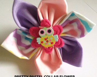 Pretty Pastel Owl Collar Flower for Dogs and Cats