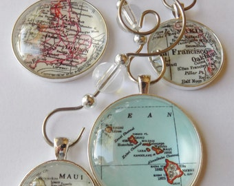 Custom Ornaments, Personalized Map Ornament, Unique pendant map ornament charms for Christmas Gift and Stocking Stuffer