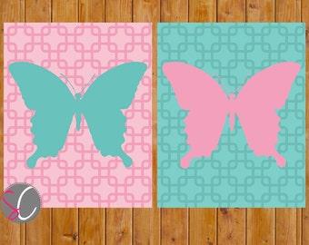 Butterfly Wall Art Toddler Girls Bedroom Pink Turquoise Butterflies Nursery Decor Set of 2 8x10 Digital JPG Printable Instant Download (164)