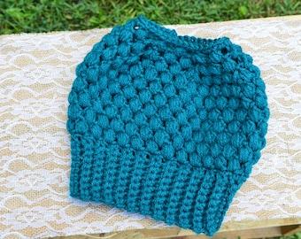 Crochet Messy Bun Beanie, Crochet Hat, Messy Bun Hat