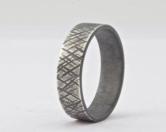 Rough Textured Sterling Silver Wide Band Ring, Oxidized Ring for Men or Women, Rustic Mens Wedding Band, Unique Distressed Ring