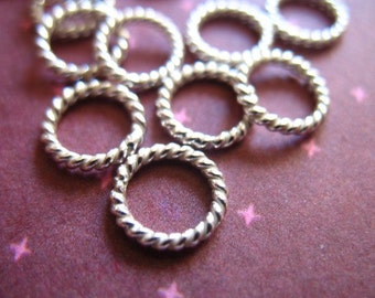 10-50 pcs, Sterling Silver Links Jump Rings Jumprings, TWISTED, CLOSED, 6 mm, 18 ga gauge, Thick, wholesale SJR6mm.18 hp tjr.s 67 solo