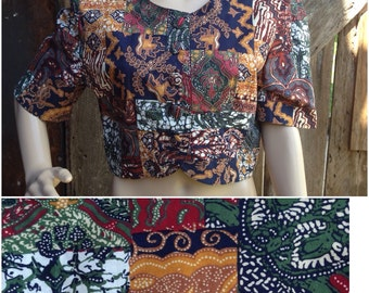 80s crop top, 90s crop top, ethnic floral shirt, button front shirt, cropped blouse, grunge shirt cropped