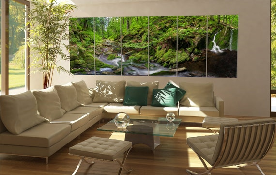 Large waterfall forest  canvas Large waterfall forest wall decoration Large waterfall forest canvas art Large waterfall forest large