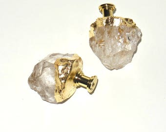 Extra Large ROUGH CRYSTAL QUARTZ Drawer Knobs - Free-Form Natural Stone Pulls - Stone Cabinet Knobs