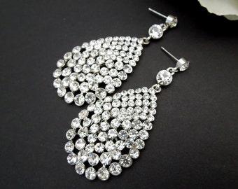 Bridal Rhinestone Earrings Statement Bridal Earrings bridal Chandelier Earrings Bridal rhinestone Earrings Wedding Rhinestone Earrings JESS