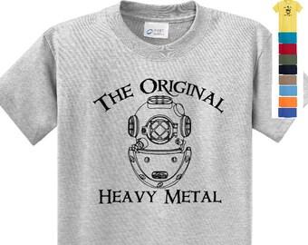 The ORIGINAL HEAVY METAL  Dive T Shirt.   Scuba Diver, Commercial Diver, Salvage Diver, Navy Diver, Deep Sea Diver, Dive Helmet Tee