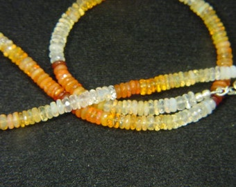 Handmade Mexican jelly opal faceted rhondel necklace 9957A  be