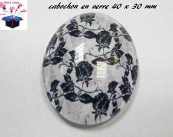 1 cabochon glass 40x30mm theme fabrics