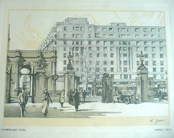 Vintage London print -  1940s original signed print -  1930s framed print - framed signed London print - Marble Arch, London