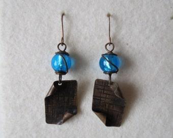 Burning copper ... copper handmade earrings