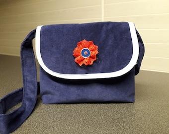 Navy Blue Velvet handbag