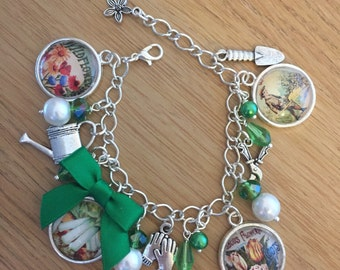 Gardener's / Allotment Charm Bracelet  - Handmade, Unique (FREE or LOW COST shipping)