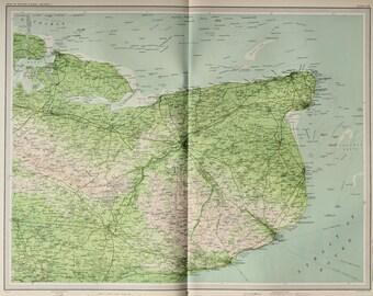 East Kent, England, Huge 1903 Antique Map, Folding Colour Map