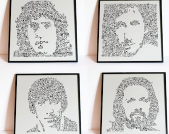 The Who - Set of 4 Prints - Roger Daltrey / Keith Moon / John Entwistle / Peter Townshend - Limited Edition - historical doodle portraits