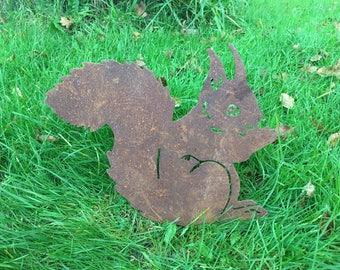Squirrel Rusty / Patina, Mild Steel Metal Garden / Yard / Pond Art, Ornaments