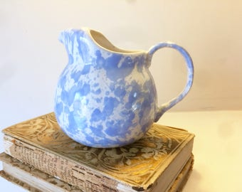 Bennington Potters, Small Pitcher, Blue Agate Creamer, Morning Glory Blue, Blue Spatterware, Bennington Pottery, Vintage, Blue Spatter