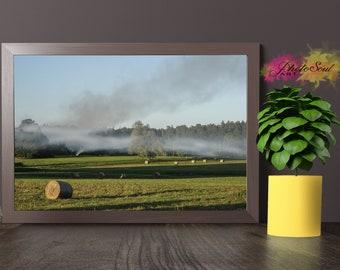 PRINTED WALL ART, field print, field photography, landscape print, smoke print, green photography, countryside wall art, nature photo print