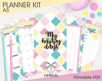 Printable PLANNER KIT – A5/Personal - Daily/Weekly/Monthly, Bookmarks/Dividers, Cover, Contacts, Notes inserts refill + stickers