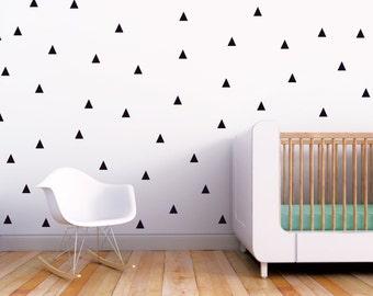 Triangle Decal Wall Decal Nursery Kids Black Triangles Wall Decal Baby Nursery Wall Decal Monochrome Decor. Little Peaks Children Wall Decal