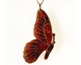 Marsala Butterfly Necklace, Moth Pendant, bronze jewelry with real glass enamel, insect jewelry, bug charm, nature wings colorful necklace