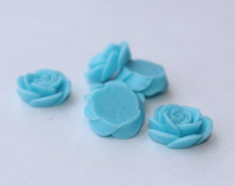 10 OPEN ROSE Cabochons - 20mm - Baby Blue Color