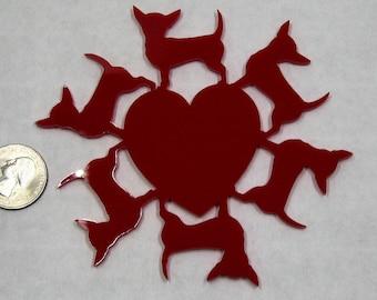 Chihuahua heart Circle, 26 colors, Acrylic, Tree Ornament, Chihuahua ornament, Dog ornament, Made in USA, Dog lover,