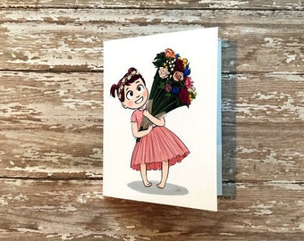 Cute Girl with Flowers for Mother's Day Original Blank Card