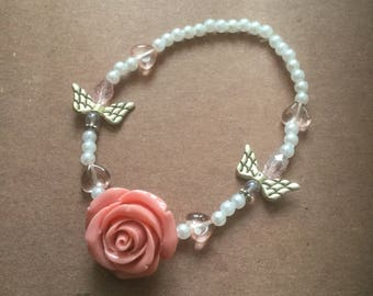 Pink angels and hearts stretch bracelet with stone rose