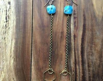Apatite shoulder duster earrings