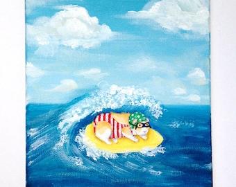 Cavybunga - 8x10 Original guinea pig surfing painting