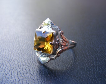 S356 Made To Order...Sterling Silver Antique Style Filgree Ring with 3 carat Natural Citrine Gemstone