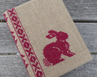Cross Stitch A6 Journal & Cover - Red Rabbit
