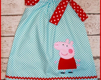 Peppa Pig  Pillowcase style dress  aqua polka dot and red polka dot