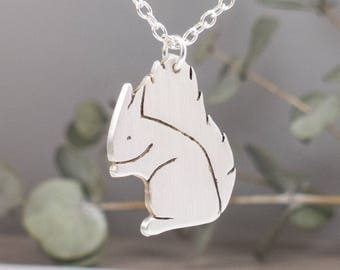 Silver Squirrel Necklace - Squirrel Jewelry - Woodland Animals Jewelry - Animal Lover Gift - Birthday Gift for Her - Woodland Creature