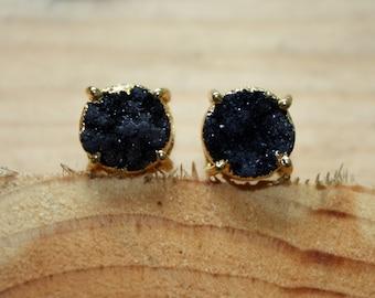 Black Druzy Earrings - Black Druzy Studs - Black And Gold Stud Earrings - Druzy Stud Earrings - Everyday Jewelry - Drusy - Two Feathers